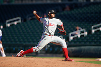 Glendale Desert Dogs pitcher Edubray Ramos (75) delivers a pitch during an Arizona Fall League game against the Mesa Solar Sox on October 14, 2015 at Sloan Park in Mesa, Arizona.  Glendale defeated Mesa 7-6.  (Mike Janes/Four Seam Images)