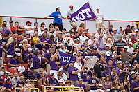 TCU's fans cheer in Game 1 of the NCAA Division One Men's College World Series on Saturday June 19th, 2010 at Johnny Rosenblatt Stadium in Omaha, Nebraska.  (Photo by Andrew Woolley / Four Seam Images)