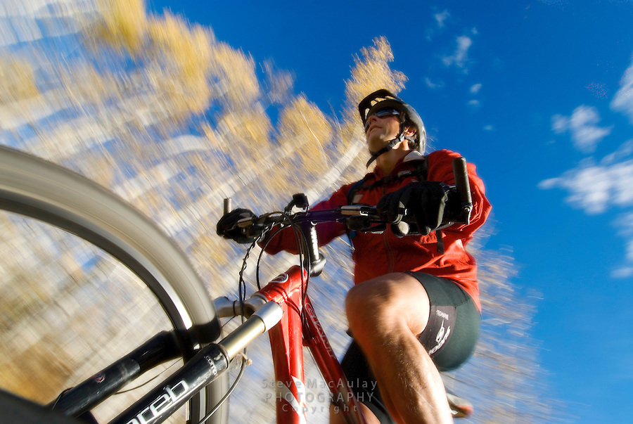 Low angle point of view POV shot of male mountain biker on a fall ride in the aspen trees, Grand Teton National Park, Jackson, Wyoming