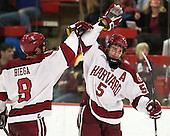 Danny Biega (Harvard - 9), Dan Ford (Harvard - 5) - The Harvard University Crimson defeated the Colgate University Raiders 4-1 (EN) on Friday, February 15, 2013, at the Bright Hockey Center in Cambridge, Massachusetts.