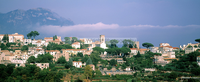 Panoramic view of Ravello, a historic village in the mountains overlooking the Amalfi Coast, Italy