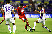 Real Valladolid´s Peña (r) and Getafe's Pedro Leon (l) during La Liga match.August 31,2013. (ALTERPHOTOS/Victor Blanco)