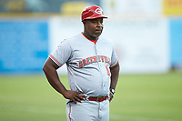 Greeneville Reds manager Gookie Dawkins (9) coaches third base during the game against the Pulaski Yankees at Calfee Park on June 23, 2018 in Pulaski, Virginia. The Reds defeated the Yankees 6-5.  (Brian Westerholt/Four Seam Images)