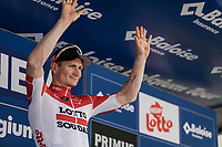 Andr&eacute; Greipel (GER/Lotto Soudal) on podium to receive the red jersey (points).<br /> <br /> Baloise Belgium Tour 2018<br /> Stage 3: ITT Bornem - Bornem (10.6km)