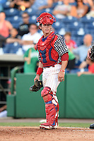Clearwater Threshers catcher Corey Bass (23) looks to the dugout during a game against the Brevard County Manatees on June 28, 2014 at Bright House Field in Clearwater, Florida.  Brevard County defeated Clearwater 6-4.  (Mike Janes/Four Seam Images)