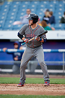 Lehigh Valley IronPigs catcher Logan Moore (35) squares around to bunt during a game against the Syracuse Chiefs on May 20, 2018 at NBT Bank Stadium in Syracuse, New York.  Lehigh Valley defeated Syracuse 5-2.  (Mike Janes/Four Seam Images)