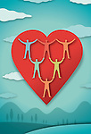 Conceptual image of human representations in heart representing health living