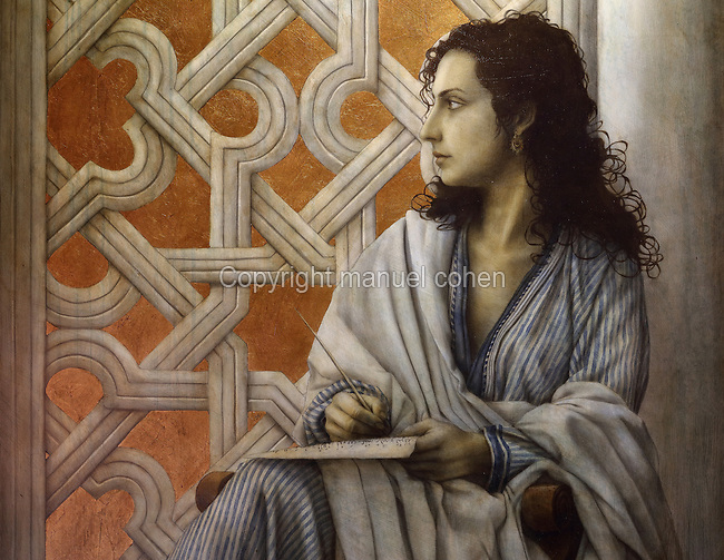 Detail from a portrait of Lubna, a 10th century Andalusian female maths scholar, scribe and translator, sitting in front of a lattice, by Jose Luis Munoz, b. 1969, in graphite, charcoal, tempera, acrylic, gold leaf and oil on wood, in the Centro Cultural y Museo Casa de Sefarad, a museum and cultural centre opened 2006 in the Jewish quarter of Cordoba, Andalusia, Southern Spain. The historic centre of Cordoba is listed as a UNESCO World Heritage Site. Picture by Manuel Cohen