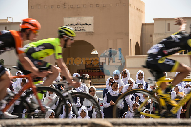 School children turn out to watch the peloton pass by during Stage 5 of the 10th Tour of Oman 2019, running 152km from Samayil to Jabal Al Akhdhar (Green Mountain), Oman. 20th February 2019.<br /> Picture: ASO/Kåre Dehlie Thorstad | Cyclefile<br /> All photos usage must carry mandatory copyright credit (© Cyclefile | ASO/Kåre Dehlie Thorstad)
