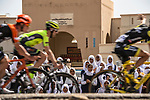 School children turn out to watch the peloton pass by during Stage 5 of the 10th Tour of Oman 2019, running 152km from Samayil to Jabal Al Akhdhar (Green Mountain), Oman. 20th February 2019.<br /> Picture: ASO/K&aring;re Dehlie Thorstad | Cyclefile<br /> All photos usage must carry mandatory copyright credit (&copy; Cyclefile | ASO/K&aring;re Dehlie Thorstad)