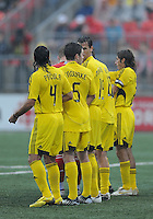 The Columbus Crew players set -up a wall at  BMO Field on Saturday September 13, 2008. .The game ended in a 1-1 draw.