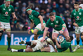 17th March 2018, Twickenham, London, England; NatWest Six Nations rugby, England versus Ireland; Rob Kearney of Ireland is tackled by Jonathan Joseph of England