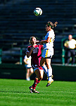 19 September 2010: University of Vermont Catamount defender Jill Dellipriscoli, a Sophomore from Montpelier, VT, jumps high against Colgate University Raider Jillian Kinter, a Sophomore from Newburyport, MA, at Centennial Field in Burlington, Vermont. The Raiders scored a pair of second half goals two minutes apart to notch a 2-0 victory over the Lady Cats in non-conference women's soccer play. Mandatory Credit: Ed Wolfstein Photo
