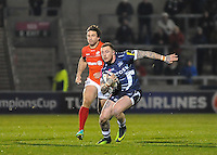 Sale Sharks Josh Charnley side steps a tackle during the European Rugby Champions Cup match between Sale Sharks and Saracens at AJ Bell Stadium, Salford, England on 18 December 2016. Photo by Paul Bell.