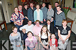YOUNG AT HEART: Bridget O'Connor, Lyrecompane (seated centre), having a wonderful time with family and friends at her 60th birthday party held in the Ballyroe Heights Hotel on Sunday evening. Kneeling front l-r: Tina and Michelle Quinn, Meg O'Mahony, Katriona Summers and Katie Quinn. Seated l-r: Pat O'Keeffe, Bridget O'Connor and Helena O'Mahony-Collins. Standing l-r: Mary Quinn, Eamonn Sheehy, Michael O'Mahony, Mike Quinn, Noreen Sheehy, Chris O'Mahony, Jackie, Mike and Jennifer O'Connor.   Copyright Kerry's Eye 2008