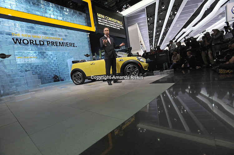 The Mini Cooper convertible is unveiled in its world premiere at the Detroit Auto Show in Detroit, Michigan on January 11, 2009.