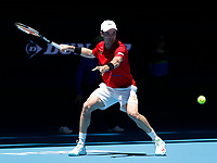 8th January 2020; RAC Arena, Perth, Western Australia; ATP Cup Australia, Perth, Day 6; Spain versus Japan; Roberto Bautista Agut of Spain plays a forehand shot from the baseline against Go Soeda of Japan - Editorial Use