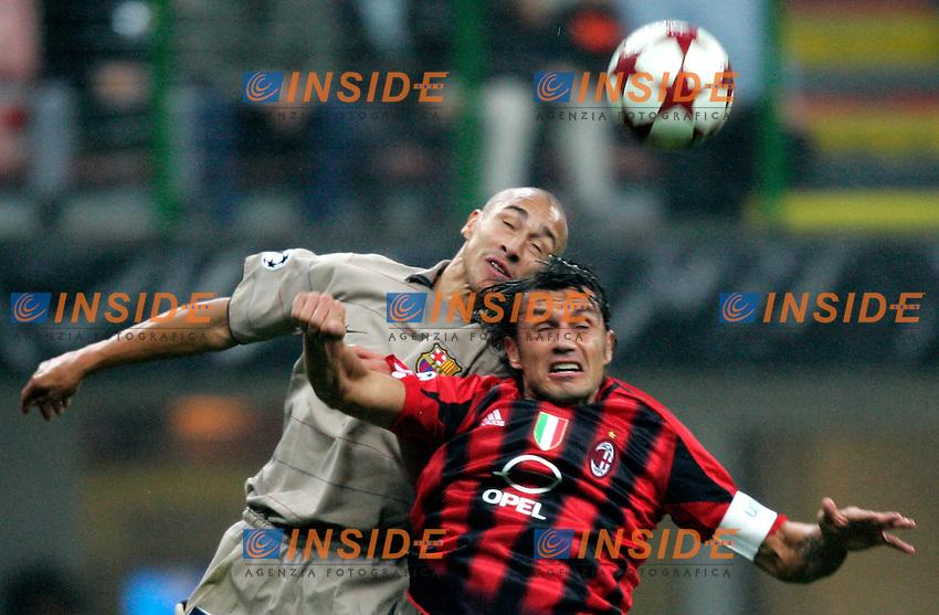 Milano 20/10/2004 Champions League Matchday 3<br /> Milan Barcellona 1-0<br /> Henrik Larsson  Barcellona and Paolo Maldini Milan <br /> Photo Baroncini / Insidefoto