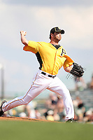 Pittsburgh Pirates pitcher Jason Grilli #39 delivers a pitch during a spring training game against the Minnesota Twins at McKechnie Field on March 10, 2012 in Bradenton, Florida.  Minnesota defeated Pittsburgh 4-2.  (Mike Janes/Four Seam Images)