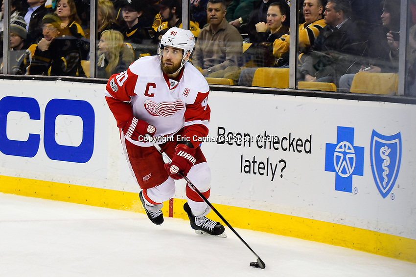 Tuesday, January 24, 2017: Detroit Red Wings left wing Henrik Zetterberg (40) in game action during the National Hockey League game between the Detroit Red Wings and the Boston Bruins held at TD Garden, in Boston, Mass. Boston defeats Detroit 4-3 in overtime. Eric Canha/CSM