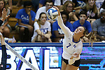 11 September 2015: Duke's Leah Meyer. The Duke University Devils hosted the Stanford University Cardinal at Cameron Indoor Stadium in Durham, NC in a 2015 NCAA Division I Women's Volleyball contest. Stanford won the match 3-2 (17-25, 25-22, 17-25, 25-23, 10-15).