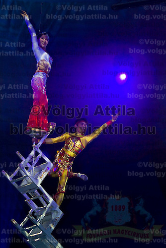 Artists perform during the guest production of of the Chineese National Circus at the Budapest Circus.