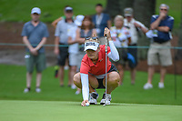 Jessica Korda (USA) lines up her putt on 10 during round 1 of the U.S. Women's Open Championship, Shoal Creek Country Club, at Birmingham, Alabama, USA. 5/31/2018.<br /> Picture: Golffile   Ken Murray<br /> <br /> All photo usage must carry mandatory copyright credit (© Golffile   Ken Murray)