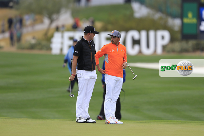 Justin Thomas (USA) and Rickie Fowler (USA) on the 17th during the final round of the Waste Management Phoenix Open, TPC Scottsdale, Scottsdale, Arisona, USA. 03/02/2019.<br /> Picture Fran Caffrey / Golffile.ie<br /> <br /> All photo usage must carry mandatory copyright credit (© Golffile | Fran Caffrey)