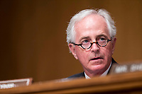 United States Senator Bob Corker (Republican of Tennessee) during a Senate Banking and Finance Committee hearing on Capitol Hill in Washington, D.C. on November 1st, 2017. <br /> Credit: Alex Edelman / CNP /MediaPunch