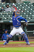 Iowa Cubs catcher Willson Contreras (40) throws down to second base between innings during a Pacific Coast League game against the Colorado Springs Sky Sox on May 1st, 2016 at Principal Park in Des Moines, Iowa.  Colorado Springs defeated Iowa 4-3. (Brad Krause/Four Seam Images)