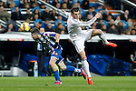 Real Madrid´s Gareth Bale (R) and Deportivo de la Coruna´s Luisinho during La Liga match at Santiago Bernabeu stadium in Madrid, Spain. February 14, 2015. (ALTERPHOTOS/Victor Blanco)