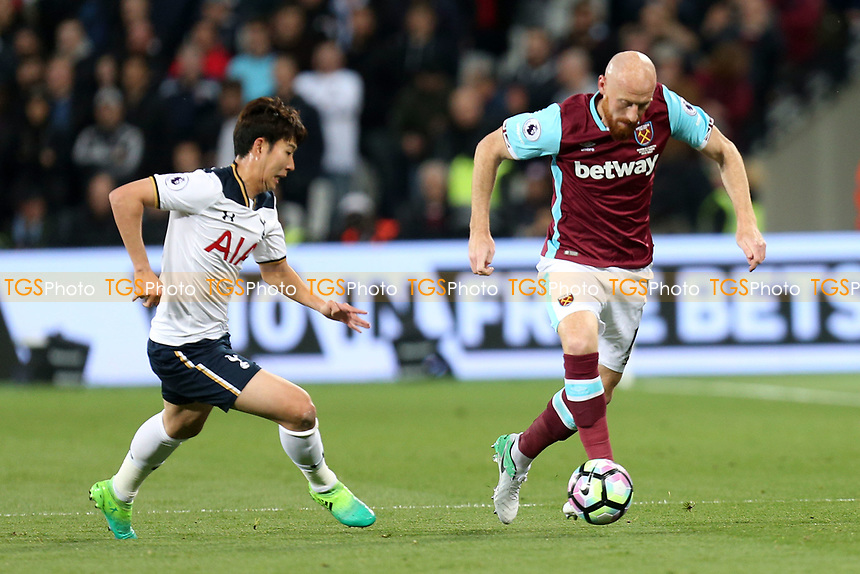 James Collins of West Ham United and Son Heung-Min of Tottenham Hotspur during West Ham United vs Tottenham Hotspur, Premier League Football at The London Stadium on 5th May 2017