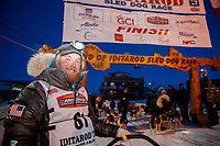 Michael Baker in the finish chute in Nome during the 2017 Iditarod on Saturday March 18, 2017.<br /> <br /> Photo by Jeff Schultz/SchultzPhoto.com  (C) 2017  ALL RIGHTS RESERVED