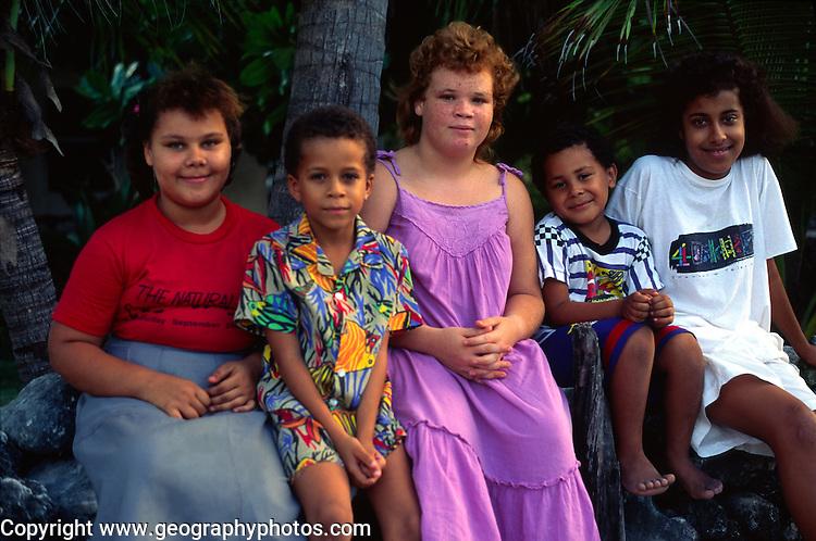 Children of different ethnic backgrounds, Cayman Brac, Cayman Islands, British West Indies,