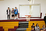 02/08/13--Milwaukie Mustangs fans stand during the National Anthem before the Mustangs- Liberty Falcons game at Milwaukie High School..Photo by Jaime Valdez..
