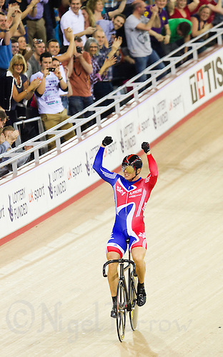 18 FEB 2012 - LONDON, GBR - Great Britain's Sir Chris Hoy (GBR) celebrates winning the Men's Keirin final at the UCI Track Cycling World Cup, and London Prepares test event for the 2012 Olympic Games, in the Olympic Park Velodrome in Stratford, London, Great Britain (PHOTO (C) 2012 NIGEL FARROW)