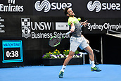 10th January 2018, Sydney Olympic Park Tennis Centre, Sydney, Australia; Sydney International Tennis, round 2; Damir Dzumhur (BIH) puts his full power into a shot in his match against Alex De Minaur (AUS)
