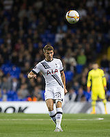 Tommy Carroll of Tottenham Hotspur hits the ball upfield during the UEFA Europa League match between Tottenham Hotspur and Qarabag FK at White Hart Lane, London, England on 17 September 2015. Photo by Andy Rowland.