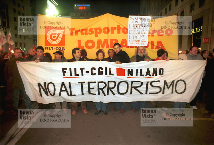 - Milan, demonstration of CGIL trade union against the terrorism....- Milano, manifestazione del sindacato CGIL contro il terrorismo