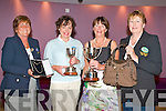 PRIZE WINNERS: Winner's of the Castlegregory Golf and Fishing club Lady Captain's and Lady President's prize being presented with their trophies at the Fels Point Hotel on Thursday l-r: Sandra Nyhan (Lady captain), Liz O'Carroll (winner, Lady captain's prize), Merlyn O'Connor (winner, Lady president's prize) and Joan Ferriter (Lady president).