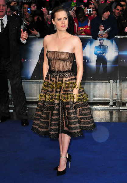 Amy Adams<br /> 'Man Of Steel' UK film premiere, Empire cinema, Leicester Square, London, England.<br /> 12th June 2013<br /> full length beige black strapless dress pattern alice band brown lace <br /> CAP/BF<br /> &copy;Bob Fidgeon/Capital Pictures