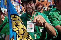 Venezia: un militante della lega nord partecipa alla quindicesima edizione della festa nazionale dei popoli padani.