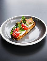 Heirloom Tomato Tartine Call Restaurant in Denver, Colorado, Tuesday, August 21, 2018. <br /> <br /> Photo by Matt Nager