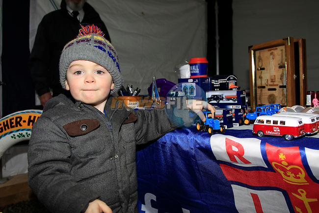 Frankie Ryan at the RNLI stand during the Christmas Fair in Market House, Dunleer on Saturday 6th December 2014.<br /> Picture:  Thos Caffrey / www.newsfile.ie