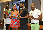 Rodrick Covington, Cassondra James, Grasan Kingsberry and T. Oliver Reid during the ceremony as The chorus of Broadway's Once on This Island receives the twelfth annual Advisory Committee on Chorus Affairs (ACCA) Award for Outstanding Broadway Chorus from Actors' Equity at the Actors' Equity Offices on June 19, 2018 in New York City.