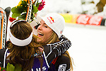 American skiers Lindsey Vonn, right,  and Julia Mancuso, left, celebrate after the medal ceremony for the Ladies World Cup Downhill held in Whistler BC, Canada on Feb 22 2008.  Vonn and Mancuso placed 2nd and 3rd in the downhill portion of the completion. The Canadian Press Images/ Gus Curtis