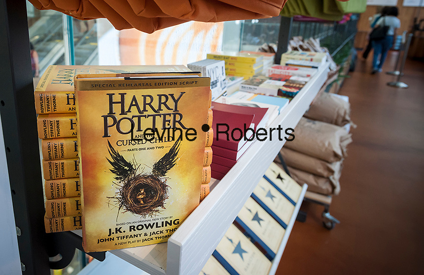 """""""Harry Potter and the Cursed Child"""" the script of the Harry Potter play on sale in a store in New York on Thursday, August 11, 2016. (© Richard B. Levine)"""