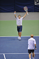 24 February 2008: Former Stanford tennis players Scott Lipsky (left) and David Martin (right) of the United States during their SAP Open final win, 7-6, 7-5, over Mike Bryan and Bob Bryan of the United States at the HP Pavilion in San Jose, CA.