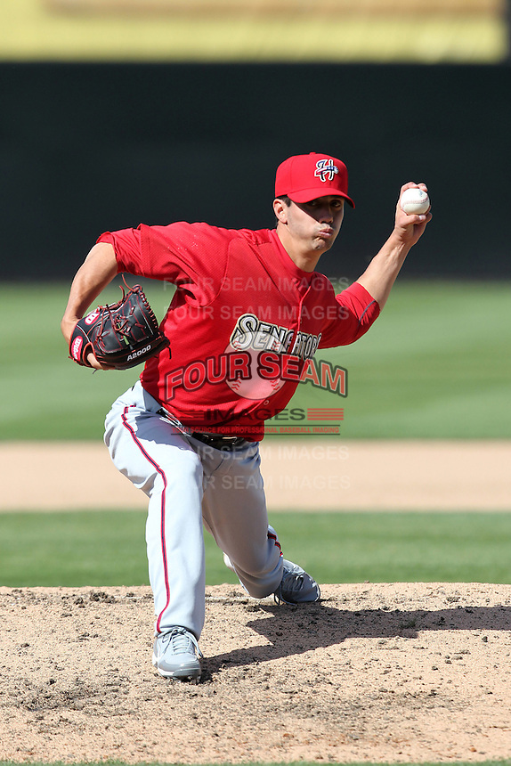 Harrisburg Senators pitcher Joe Testa #32 delivers a pitch during a game against the Bowie BaySox at Prince George's Stadium on April 8, 2012 in Bowie, Maryland.  Harrisburg defeated Bowie 5-2.  (Mike Janes/Four Seam Images)