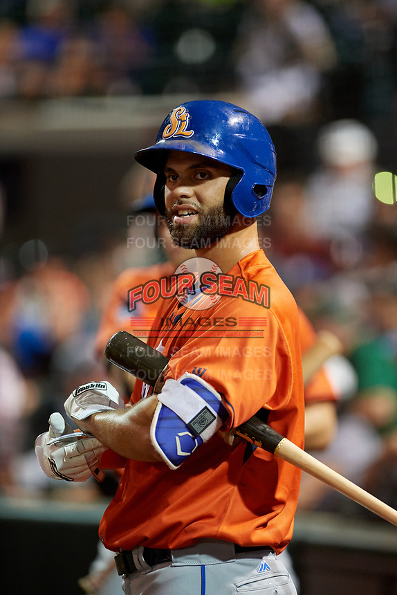 St. Lucie Mets Wuilmer Becerra (56) on deck during the Florida State League All-Star Game on June 17, 2017 at Joker Marchant Stadium in Lakeland, Florida.  FSL North All-Stars defeated the FSL South All-Stars  5-2.  (Mike Janes/Four Seam Images)